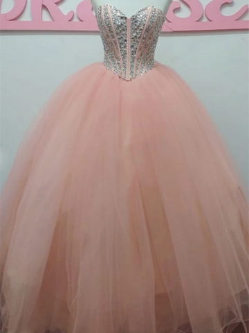 Pink Sweetheart Tulle Beads Long Prom Dresses, Pink Sweetheart Tulle Beads Long Formal Evening Dresses