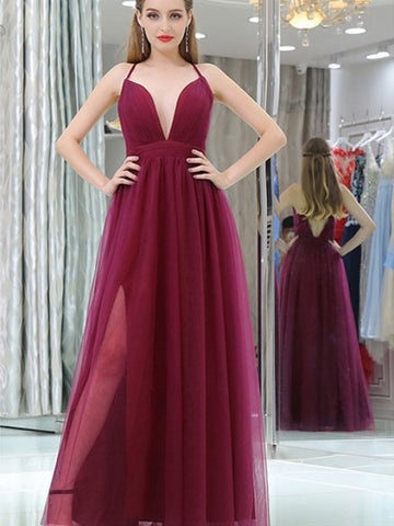 V Neck Sexy Backless Burgundy Prom Dresses With Leg Slit, Burgundy Tulle Bridesmaid Dresses, Formal Evening Dresses