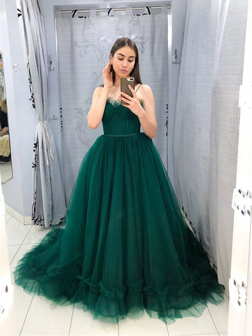 A Line Green Tulle Long Prom Dresses,Green Tulle Long Party Evening Dresses