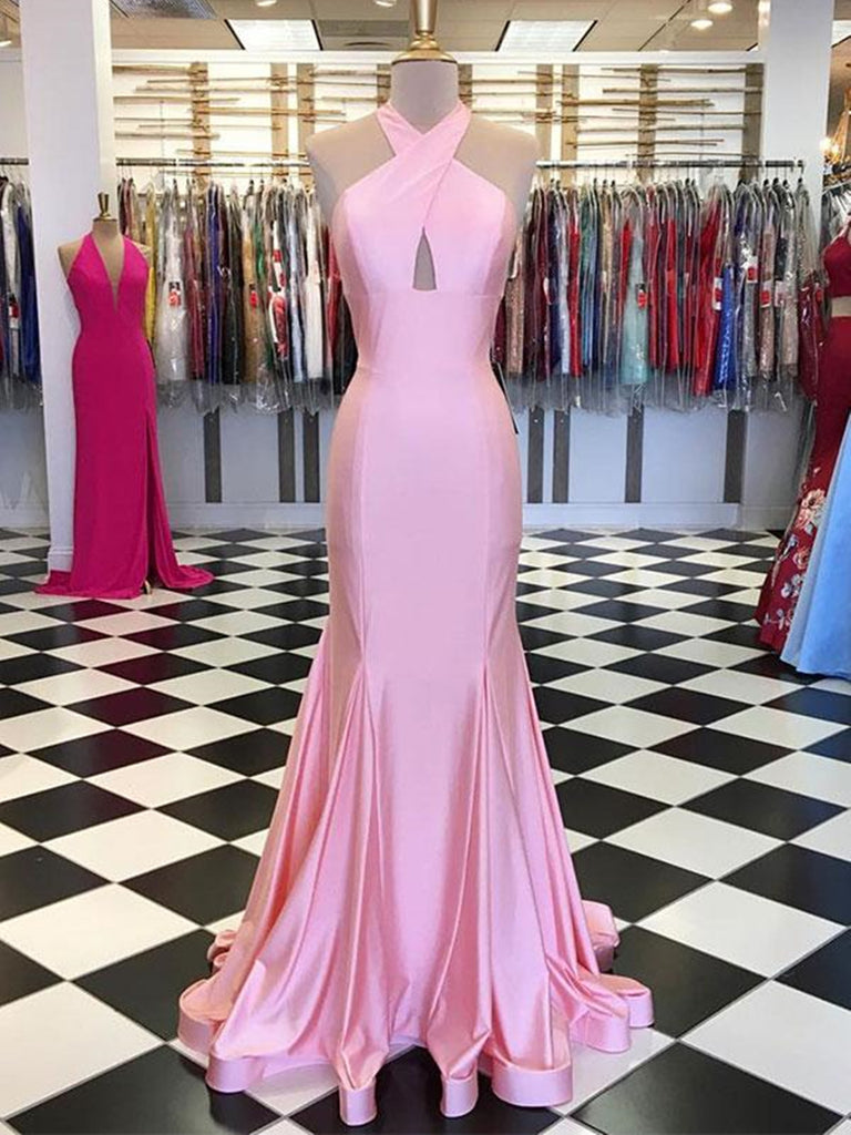 Custom made pink mermaid satin long prom dress, Pink evening dress