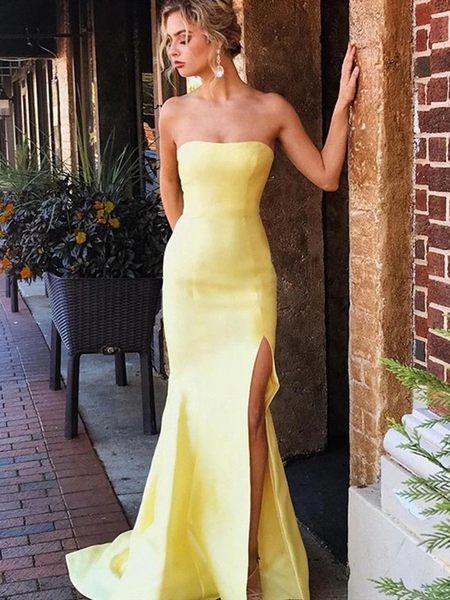 Yellow Mermaid Strapless Satin Long Prom Dresses With Leg Slit, Strapless Mermaid Yellow Formal Evening Dresses
