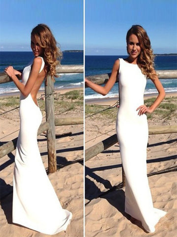 Simple White Backless Long Mermaid Prom Dresses, Sexy Sleeveless Formal Evening Dresses