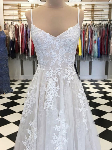 White Tulle Lace Long Prom Dress, White Tulle Lace Long Formal Evening Dress