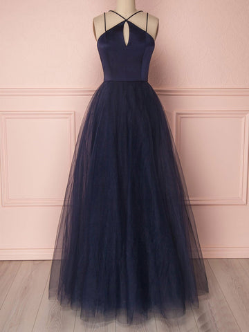 A Line Cross Neck Open Back Dark Navy Blue Prom Dress,Dark Navy Blue Tulle Long Formal Evening Dress