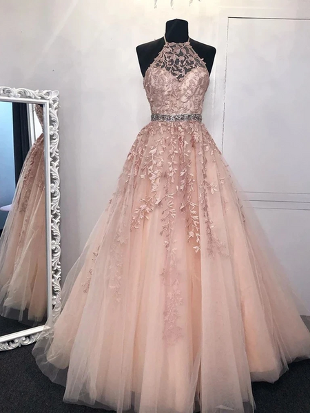 A Line High Neck Pink Tulle Lace Long Prom Dresses, Tulle Pink Lace Formal Graduation Evening Dresses