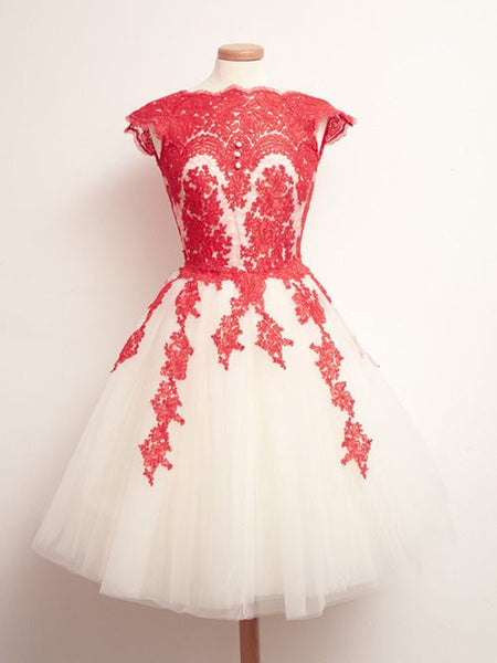 Custom Made Round Neck White And Red Lace Prom Dresses, Lace Formal Dresses