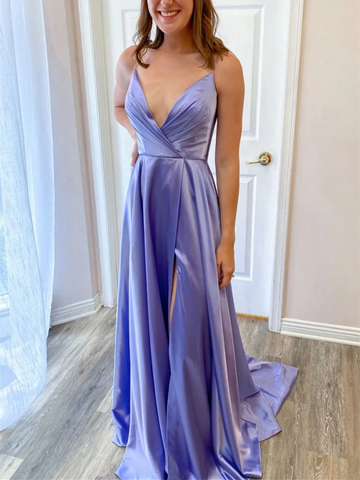 Simple V Neck Purple Satin Long Prom Dresses With High Leg Slit, Simple V Neck Purple Satin Long  Formal Evening Dresses