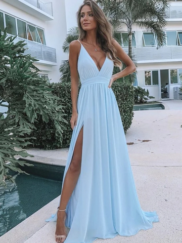 V Neck Light Blue Chiffon Long Prom Dresses with Leg Slit, V Neck Light Blue Formal Evening Bridesmaid Dresses