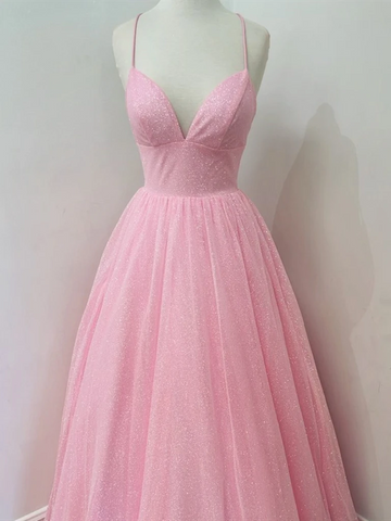 Shiny A Line V Neck Pink Long Prom Dresses,  A Line V Neck Pink Long Formal Evening Dresses