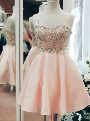 Sweetheart Neck Satin Blush Pink Homecoming Dresses With Rhinestone, Short Blush Pink Satin Prom Formal Evening Dresses