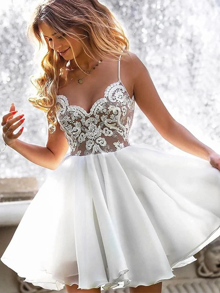 A Line V Neck Short White Lace Prom Dresses, Short White Lace Formal Evening Dresses, White Lace Short Homecoming Dresses