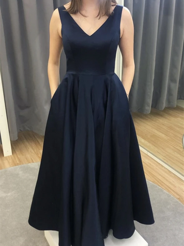 A Line V Neck Blue Prom Dresses, A Line V Neck Blue Formal Evening Dresses