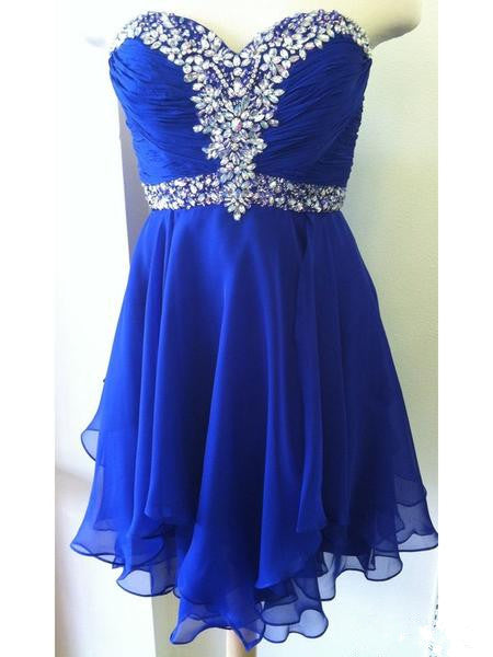 A Line Sweetheart Neck Short Royal Blue Prom Dresses, Short Royal Blue Homecoming Dress, Graduation Dresses