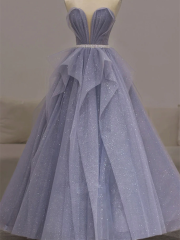 A Line Sweetheart Neck Lavender Tulle Sequin Long Prom Dresses, Purple Tulle Long Formal Evening Dresses
