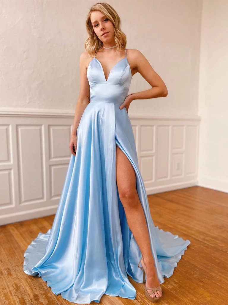 A Line V Neck Sky Blue Backless Prom Dresses With Leg Slit, V Neck Sky Blue Backless Satin Long Formal Evening Dresses