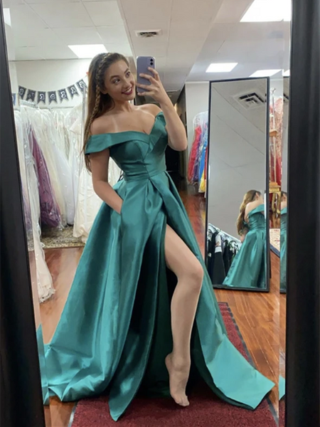 Green Off The Shoulder Satin Long Prom Dresses With Leg Slit, Long Satin Off Shoulder Green Formal Evening Dresses