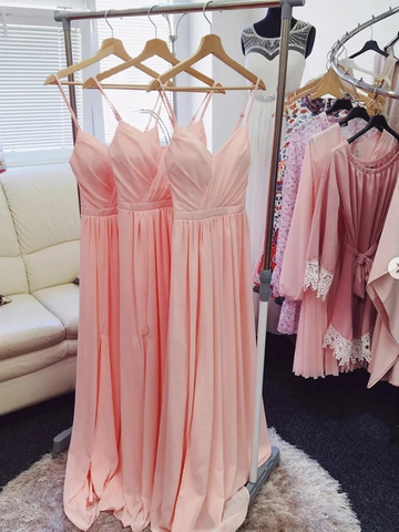 V Neck Pink Chiffon Long Prom Dresses, Pink Long Bridesmaid Formal Evening Dresses