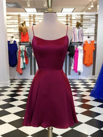 Backless Burgundy Short Prom Dresses, Short Burgundy Homecoming Evening Dresses