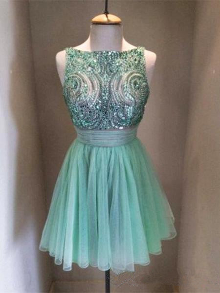 Custom Made Round Neck Short Blue Prom Dresses, Short Homecoming Dresses, Graduation Dresses