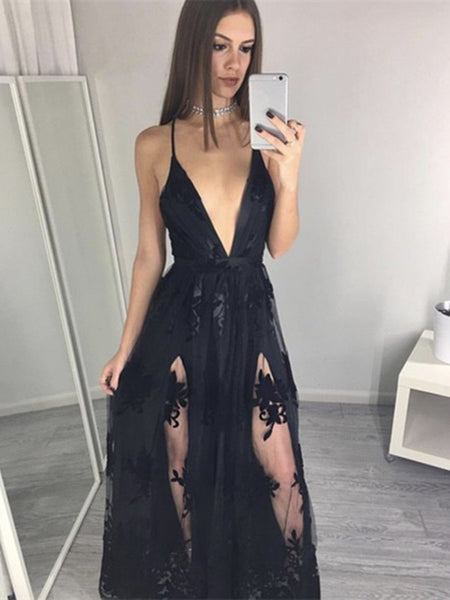 Custom Made A Line V Neck Black Lace Prom Dresses, V Neck Lace Formal Dresses