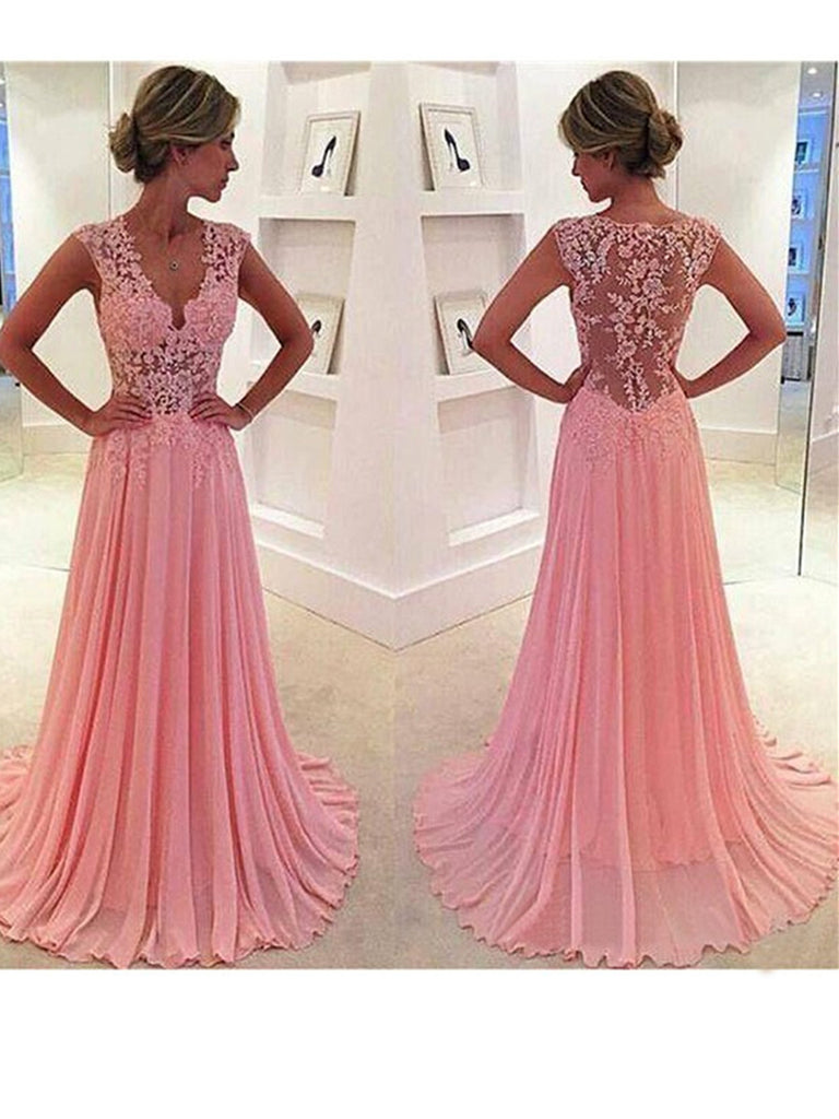 V neck Pink Prom Dresses with Lace Appliques, Pink Lace Prom Dress, Cap Sleeves Pink Lace Evening Dress