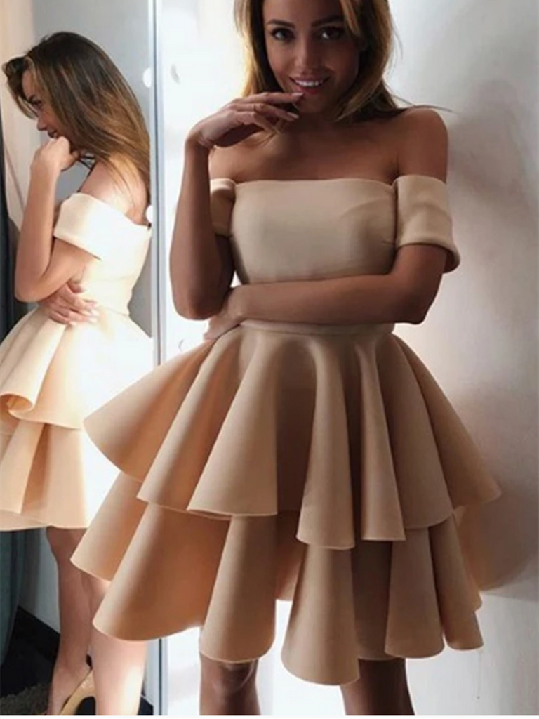 A Line Champagne Off Shoulder Short  Prom Dresses, Champagne Off Shoulder Short Formal Graduation Homecoming Dresses