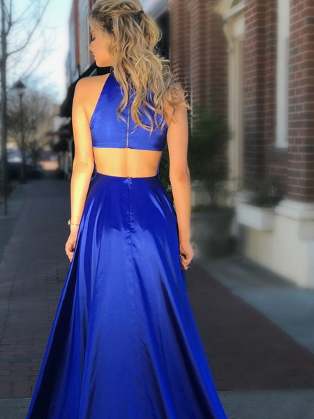 Halter Open back A Line Royal Blue Satin Long Prom Dresses With High Side Slit, Royal Blue Open back Formal Evening Dresses With Pokets