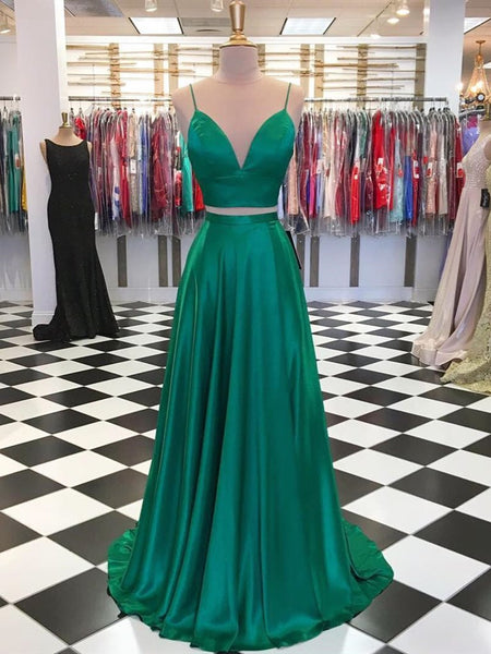 V Neck  2 Pieces Green Prom Dresses, Two Pieces Green Formal Graduation Evening Dresses