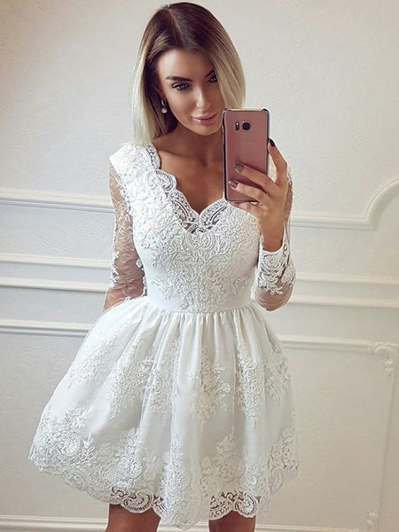 V Neck Long Sleeves Lace White Short Prom Dresses , Long Sleeves Lace Formal Homecoming Evening Dresses