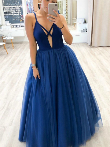 Unique V Neck Blue Tulle Long Prom Dresses, Unique V Neck Blue Tulle Long Formal Evening Dresses