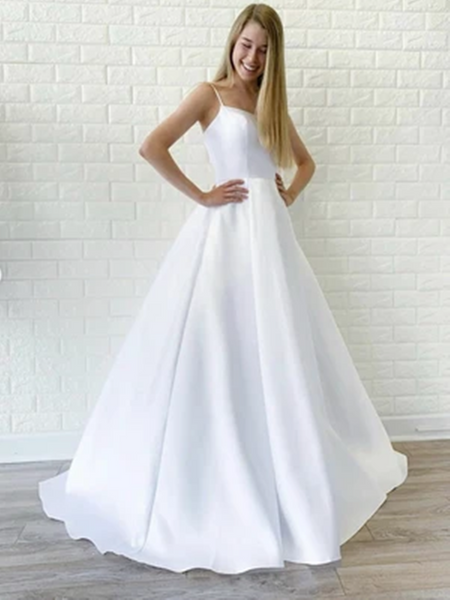 Simple White Satin Long Prom Dresses, White Wedding Dresses,  White Formal Graduation Evening Dresses