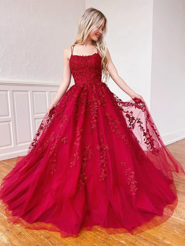 A Line Burgundy Tulle Lace Backless Long Prom Dresses, Open Back Burgundy Tulle Lace Formal Evening Dresses