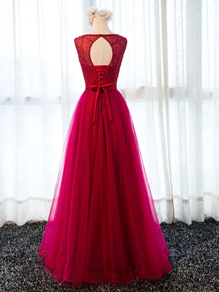 Custom Made Round Neck Tulle Burgundy / Maroon Long Prom Dresses With Beaded, Wine Red Beaded Formal Evening Bridesmaid Dresses