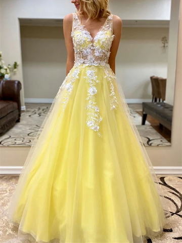 A Line V Neck Yellow Tulle Lace Long Prom Dresses, Yellow Lace Formal Evening Dresses