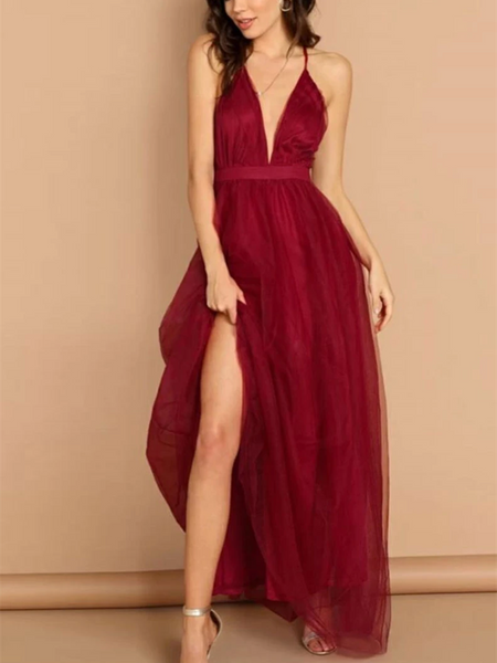 Simple V Neck Burgundy Backless Tulle Long Prom Dresses, Open Back V Neck Burgundy Tulle Long Formal Evening Dresses