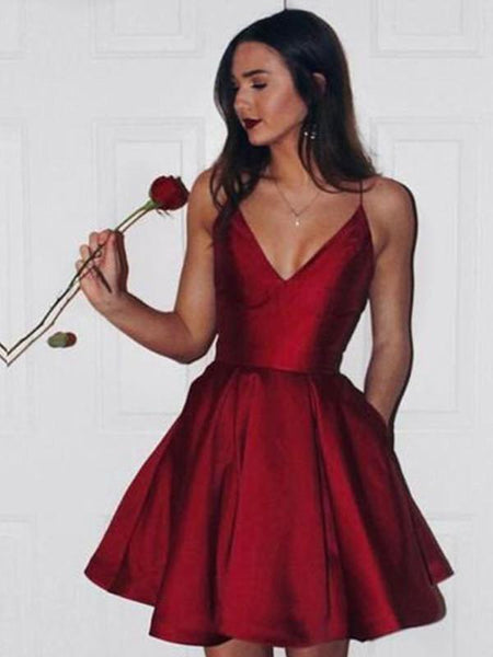 Sexy A Line V Neck Short Burgundy Prom Dress with Spaghetti Straps, Short V Neck Burgundy Homecoming Dress