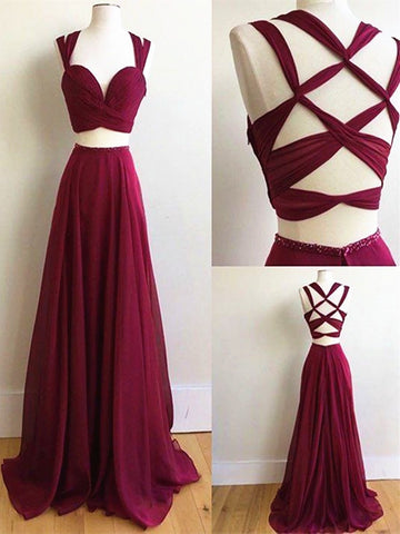 Custom Made Burgundy/Wine Red 2 Pieces Long Prom Dress, 2 Pieces Burgundy/Wine Red Long Formal Dress