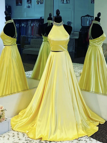 Halter Neck Open Back 2 Pieces Yellow Satin Long Prom Dresses, Backless Two Piece Yellow Formal Graduation Evening Dresses
