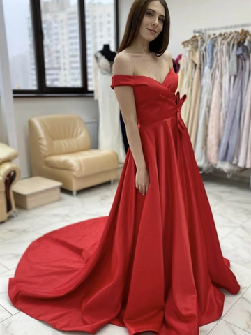 Off Shoulder Red Satin Long Prom Dresses, Off the Shoulder Red Formal Evening Dresses