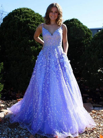 A Line V Neck Blue Tulle Lace Appliques Long Prom Dresses 2021 , Elegant Blue Lace Evening Formal Party Dresses