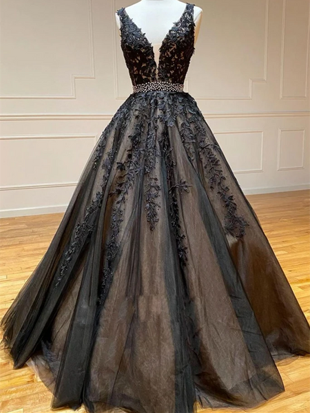 V Neck Black Lace Beads Tulle Long Prom Dresses, V Neck Black Lace Beads Tulle Long Formal Evening Dresses