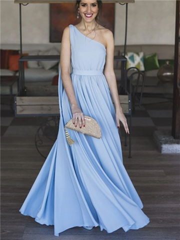 Blue One Shoulder Prom Chiffon Long Prom Dresses, Blue One Shoulder Prom Chiffon Long  Formal Evening Dresses