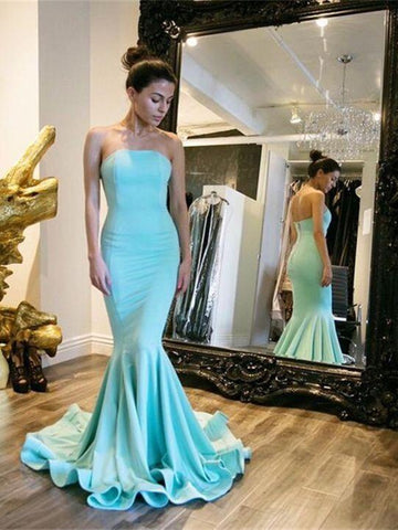 Simple Strapless Satin Cyan Mermaid Style Prom Dresses,  Cyan Mermaid Strapless Satin Long Formal Evening Dresses