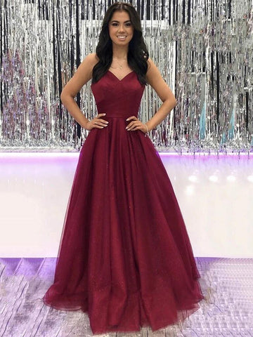 V Neck Burgundy Tulle Long Prom Dresses, Long Wine Red Tulle Formal Evening Dresses