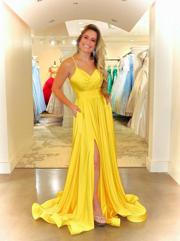 Simple V Neck Yellow Satin Long Prom Dresses With High Leg Slit, Simple V Neck Yellow Satin Long Formal Evening Dresses