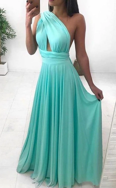 Simples One Shoulder Chiffon Long Prom Dresses, Simples One Shoulder Chiffon Long Formal Evening Dresses