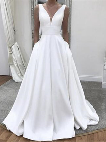 Elegant Simple V Neck White Wedding Dresses with Pockets, V Neck White A Line Long Formal Evening Dresses