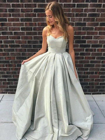 A Line Strapless Silver Grey Long Prom Dresses, Silver Grey Long Formal Evening Dresses