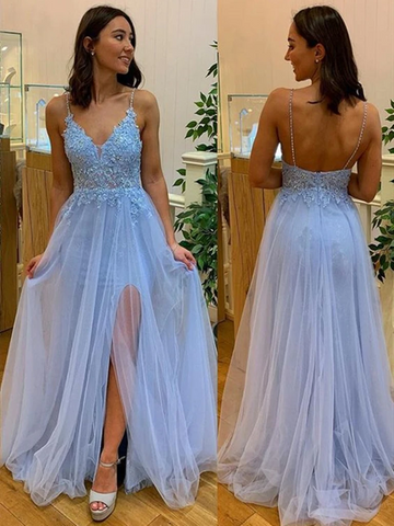 A Line V Neck Light Blue Lace Prom Dresses, Light Blue Lace Formal Evening Dresses