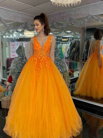 V Neck Orange Lace Tulle Long Prom Dresses, V Back Orange Lace Formal Evening Dresses